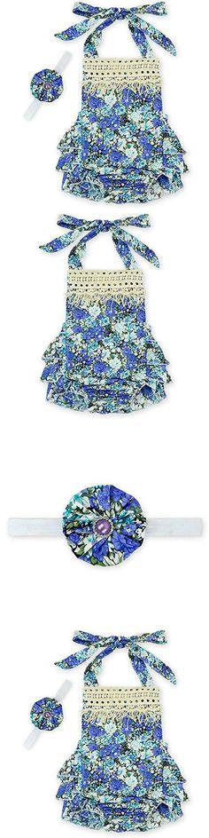 D.LIN Baby Girl\'s Ruffles Tassel Romper Dresses+Headband Outfits Summer Clothing