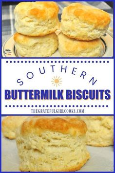 Southern Buttermilk Biscuits / The Grateful Girl Cooks! You will LOVE eating these delicious classic southern-style buttermilk biscuits for breakfast. big and tall, big and soft, and big on flavor! Southern Buttermilk Biscuits, Buttermilk Recipes, Biscuits With Bisquick, Southern Homemade Biscuits, Buttermilk Bisquits, Southern Biscuits And Gravy, Country Biscuits, Baking Powder Biscuits, Easy Biscuits
