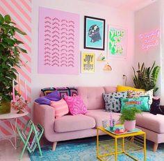 Pop Art Bedroom, Neon Bedroom, Bedroom Colors, Bedroom Decor, Bedroom Ideas, Retro Apartment, Colorful Apartment, Bedroom Light Inspiration, Room Interior