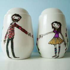 Personalised / Personalized Salt & Pepper Shakers by JoyNevada, $58.00  Use Pébéo Porcelaine 150 paints or markers  http://www.dickblick.com/products/pebeo-porcelaine-150/?clickTracking=true  http://www.amazon.com/s/ref=nb_sb_noss_1?url=search-alias%3Daps=porcelaine+150