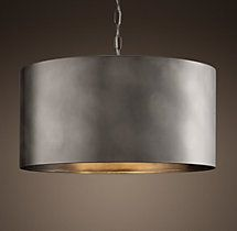 """20"""" Antiqued Metal Drum Pendant - from Restoration Hardware, expensive but LOVE them."""
