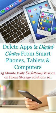 Here is how to delete apps and other types of digital clutter from your smart phones, tablets and computers to keep them functional and useful for you. The article contains a list of many types of digital clutter to remove. Life Hacks Computer, Iphone Life Hacks, Computer Basics, Computer Help, Computer Tips, Technology Hacks, Computer Technology, Medical Technology, Energy Technology