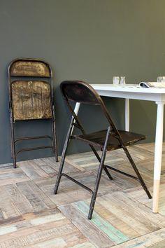Vintage Iron Folding Chair, Rockett St George
