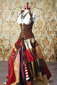 Full Length Patchwork Skirt in Reds Browns and Golds | damselinthisdress - Clothing on ArtFire Not sure why but I want this!!!!