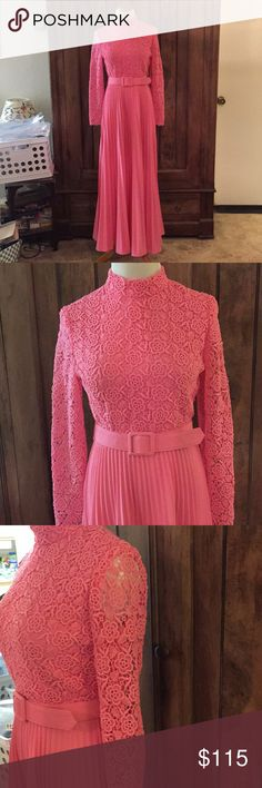 "Vintage Pink Beauty What a piece of fashion history. Gorgeous lace top overlay and pleated full bottom skirt. Belt and zipper back. Mock turtleneck collar. Hand wash. Looks like brand tag was cut, pic of only remaining tag shown. Bust 32"", waist 25 1/2"", length 56"". ID 1137 Vintage Dresses Maxi"