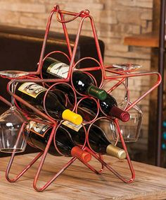 Look what I found on #zulily! Red Rustic Star Wine Rack #zulilyfinds