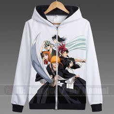 New Japanese Anime BLEACH Hoodie Unisex White Leisure Exercise Coat Cosplay #288 #Handmade #hoodies