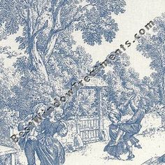 Custom Tab Top Valance Curtains Window Top Treatment - Group A (Toile in Blue Shown)