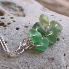 Natural Sea Glass Sterling Silver Earrings Shades of Green (438)