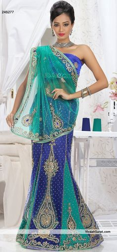 Fabulous Royal Blue & Turquoise Lehenga Saree