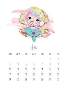 This Free Printable 2019 Kawaii Mermaid Calendar is gonig to make you smile! It is fabulous for mermaid lovers of all ages! Free Printable Calendar Templates, Free Printables, Calendar Wallpaper, Iphone Wallpaper, Planning School, Cute Calendar, Print Calendar, 2019 Calendar, Pretty Mermaids