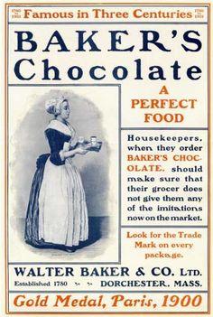 Baker's Chocolate, A Perfect Food - Walter Baker & Company Vintage Labels, Vintage Ephemera, Vintage Signs, Vintage Ads, Vintage Posters, Vintage Food, Vintage Prints, Bakers Chocolate, Chocolate Art