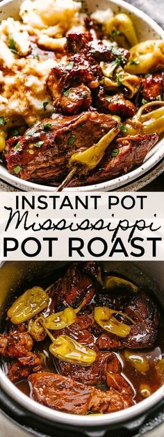 Easy and Flavorful Mississippi Pot Roast - Made in the Instant Pot! You'll go mad for this flavorful, tender and juicy Mississippi Pot Roast.The Instant Pot makes this one of the easiest pot roast recipes you'll ever make! Chuck Roast Recipes, Pot Roast Recipes, Beef Recipes, Cooking Recipes, Chicken Recipes, Recipe For Pot Roast, Easiest Crockpot Recipes, Kale Recipes, Bon Appetit