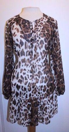 Bebe Top XS Brown Cream Animal Print Tie Collar Long Sleeve Sheer Tunic Blouse #Bebe #Tunic #Casual