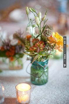 rustic wildflower table decor ideas   CHECK OUT MORE IDEAS AT WEDDINGPINS.NET   #weddings #weddingflowers #flowers
