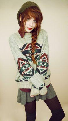 Shop this look on Kaleidoscope (sweater, skirt, socks, shirt, hat)  http://kalei.do/WMYp5l7fotBIRJDY