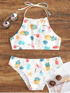 High Neck Halter Bikini Swimsuit - WHITE - 2XL