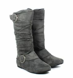 Gray Color ,Normal Faux Suede Zip Open Buckle Womens Mid Calf Boots Size 6