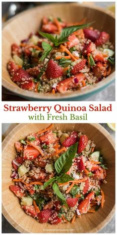 Looking for a delicious quinoa salad recipe made with fresh strawberries? Strawberry Quinoa Salad with Fresh Basil, is fresh and full of tasty flavors. Quinoa Salad Recipes, Summer Salad Recipes, Summer Salads, Strawberry Recipes Dinner, Fruit Salad, Fresh Basil Recipes, Cooking Recipes, Healthy Recipes, Food Dinners