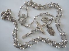† Antique STERLING SILVER Beads Rosary w Medals †