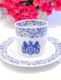 Vintage Blue and white bowl and plate - Copeland spode - Bancroft school - Tea Party - flow blue - wedding table ideas