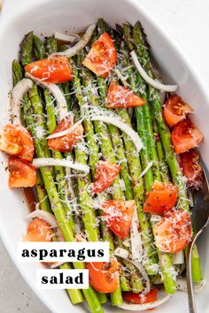 This cold asparagus salad is super simple to make and positively refreshing. Tender-crisp asparagus and fresh tomatoes are marinated with slices of flavorful onion in Italian dressing then topped with grated parmesan for the perfect summer side dish. This recipe comes from my mother and has been in my family for 30 years! #vegetarian #tomato #asparagus #salad Healthy Summer Recipes, Easy Salads, Healthy Salad Recipes, Summer Salads, Whole Food Recipes, Vegetarian Recipes, Healthy Food, Healthy Meals, Asparagus Salad