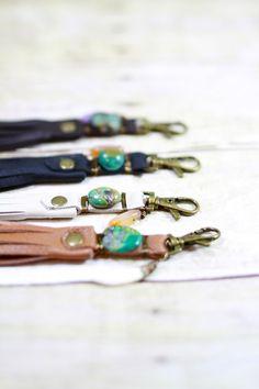 Leather Bag Tassel Leather Tassel Turquoise Stone por 14xbags