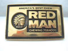 Vintage 1981 BTS Red Man Chewing Tobacco Chief Brass Belt Buckle #BTS #Novelty