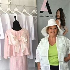 #LinLady Carol looks fabulous in her new Alexandra Lin raincoat and hat! Thank you for stopping by! #fashion #sarasota #retail