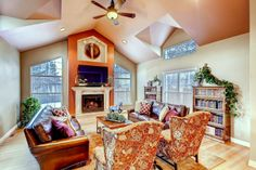 Bonnie Brae Refresh: Living room, Copper Accents, Leather Sofas, Fireplace Focal Point, Symmetry, c2Design