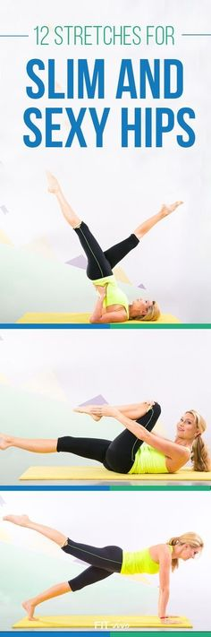 Work out routines. Want a good hip workout ? Here are 12 stretches and workouts for flexibility and strengthening of the hips. These exercises help loosen tight hip flexors and finally get those slim and sexy hips. Perfect for men and women. Also great for runners to recover after injury or strain