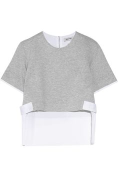 "Tim Coppens describes his collections as ""athletic luxury."" Made from soft cotton-blend jersey, this top is paneled with crisp white poplin and has buttoned waist tabs and a longer back hem. Temper the cropped length at the front by layering it over a camisole or tee."