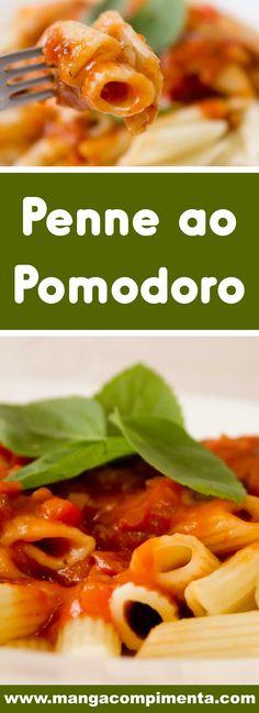 Receita de Penne ao Pomodoro - prepare um clássico simples e delicioso na sua casa! #receitas