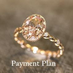 Reserved Floral 9x7mm Oval Morganite Engagement by LaMoreDesign, $300.00