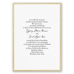 Wedding invitation wording bride and groom host modern bria framed in glitter invitation filmwisefo