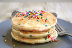 Cake Batter Pancakes (for the traditional birthday pancake-cake we make for the boys each year)