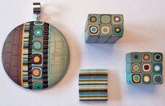 Retro - Klimt cane jewelry on Polymer Clay Daily