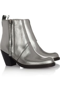 Acne | Pistol metallic leather ankle boots