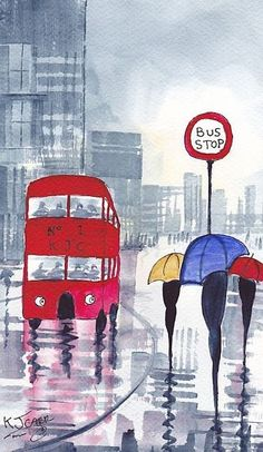 Raindrops in London . . . (Don't you just love those double-deckers?)