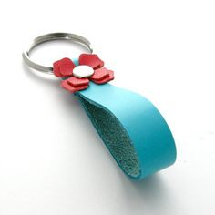Leather Keychain, A Handmade Bright Spring Flower Leather Key Ring in Strawberry Red and Aqua