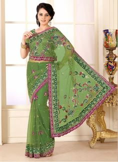 Mehndi Green Resham And Zardosi Enhanced Net Saree