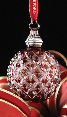Waterford 2013 Annual Cased Ball Ornament Ruby