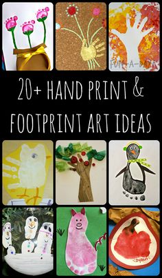 A collection of hand print and foot print art ideas to try with the kiddos!