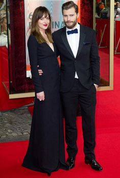 Dakota Johnson and Jamie Dornan looked chic in black as they hit the Berlin Film Festival for the world premiere of Fifty Shades of Grey.