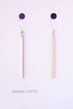 Elegant long dangle gold bar earrings.Stylish accessories for women.