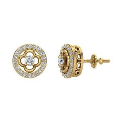 This beautiful pair for diamond earrings will go perfectly with any outfit you wear. This pair of earrings bring a beautiful glow to one's face as soon as they put it on!