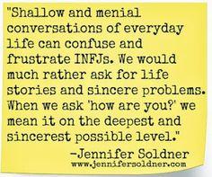 infj, jennifer soldner, small talk