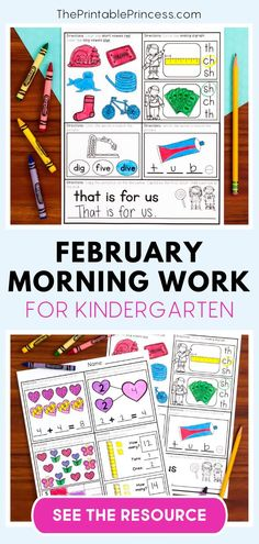 February Morning Work for Kindergarten contains 20 reading and 20 math worksheets that are Common Core aligned and an excellent review for kindergarteners at this point in the year. Great to use as morning work or homework. These review activities empower students to work independently!