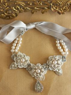 Pearl Statement Wedding Necklace / Taupe Silver by EderaJewelry