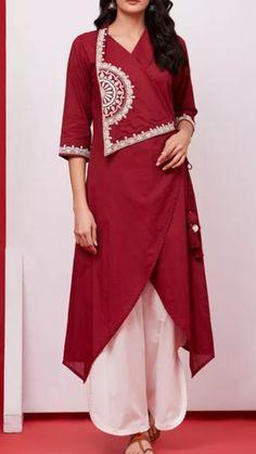 Beautiful Cotton Angrakha Wrap style kurti with hand embroidery embellishment. Kurta Designs Women, Blouse Designs, Stylish Dresses, Fashion Dresses, Kurti Embroidery Design, Hand Embroidery, Kurta Style, Kurta Neck Design, Designs For Dresses
